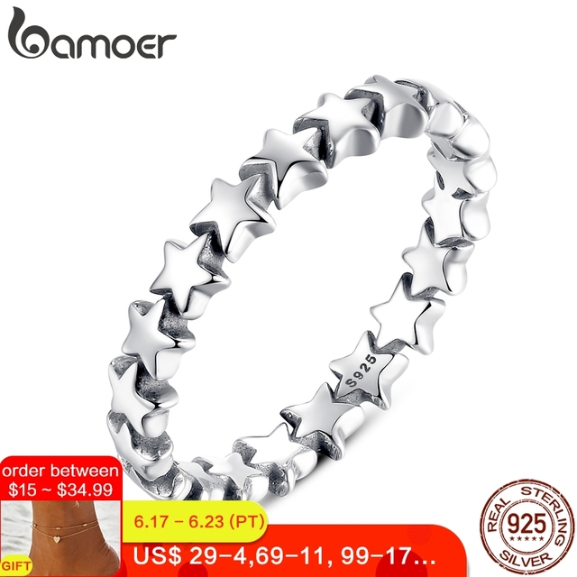BAMOER Star Trail Stackable Finger Ring For Women Wedding 100% 925 Sterling Silver Jewelry 2019 HOT SELL PA7151