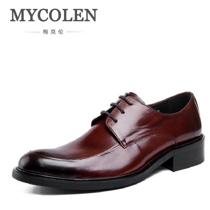 MYCOLEN Luxury Men Dress Shoes Round Toe Lace Up Men's Business Casual Shoes Cow Leather Oxfords Shoes Zapatos Hombre Vestir klywoo new white fasion shoes men casual shoes spring men driving shoes leather breathable comfortable lace up zapatos hombre