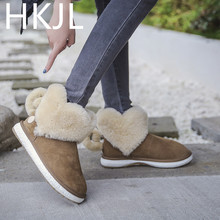 HKJL Love snow boots 2019 winter new Korean sheep fur one womens cotton plus velvet thick warm students Z044