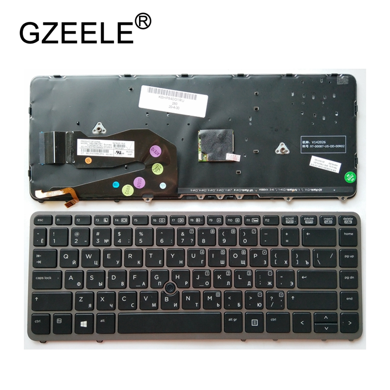 GZEELE Russian laptop Keyboard for HP EliteBook 840 G1 850 G1 ZBook 14 for HP 840 G2 RU with backlight mouse lever grey frame