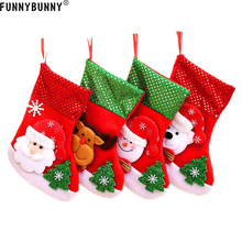 FUNNYBUNNY Christmas Santa Stockings Candy Bag Assorted Flannel Gift Socks Hanging Accessories for Xmas Tree Decoration
