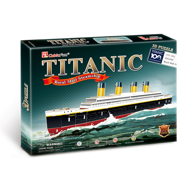 Kids Toys Cubic Fun 3D Puzzle Titanic Ship Model DIY Children Birthday Gifts Educational T4012h