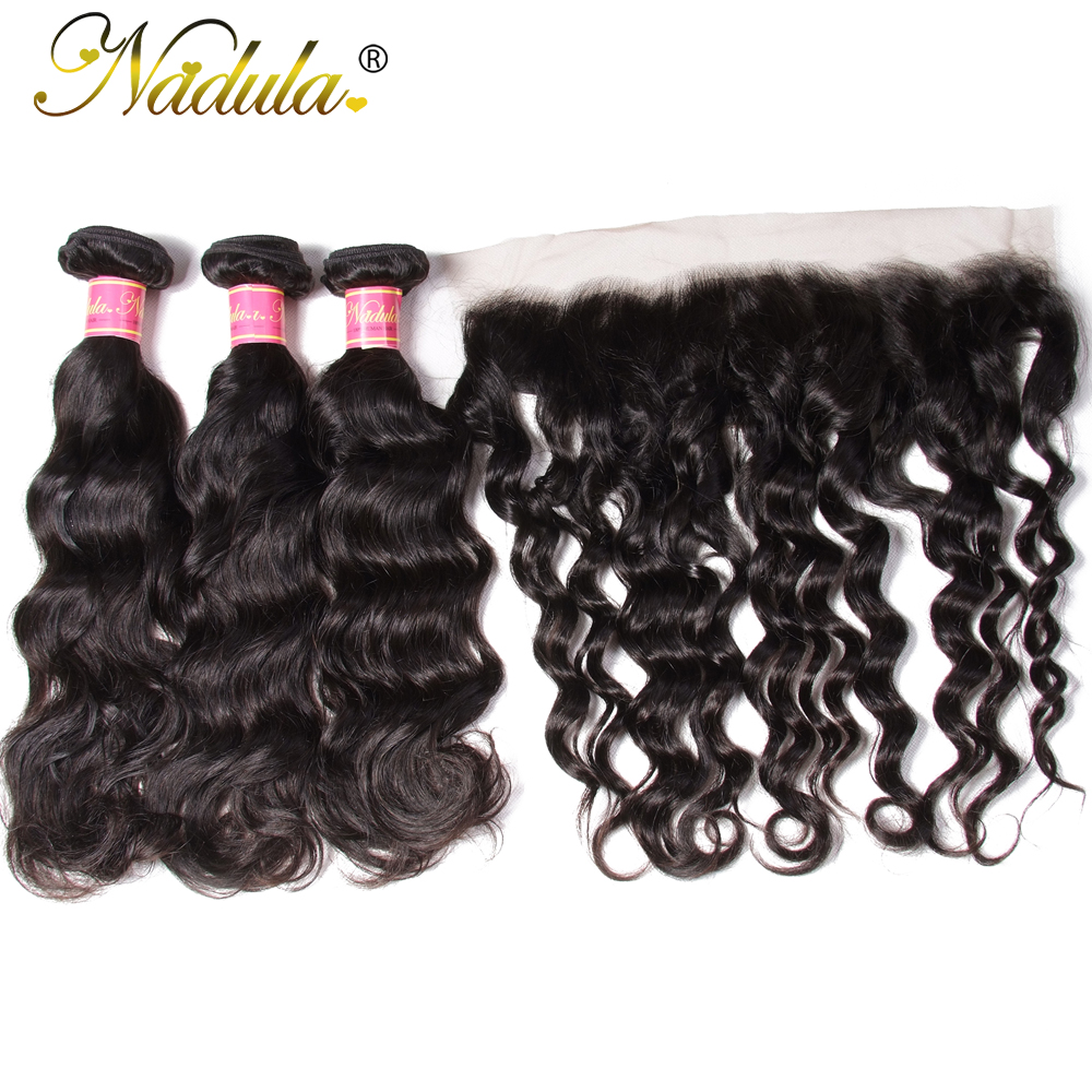 Nadula Hair Natural Wave Bundles With Frontal  s 3 Bundles With Closure 10-26inch  s 3