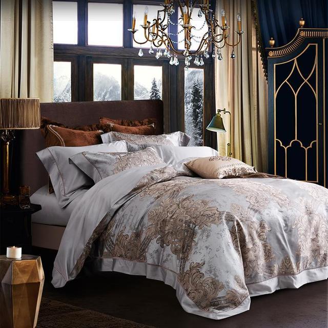 Luxury Silk Bedding Set King Size Silver Duvet Cover European Fl Jacquard Bed Linens Comforter