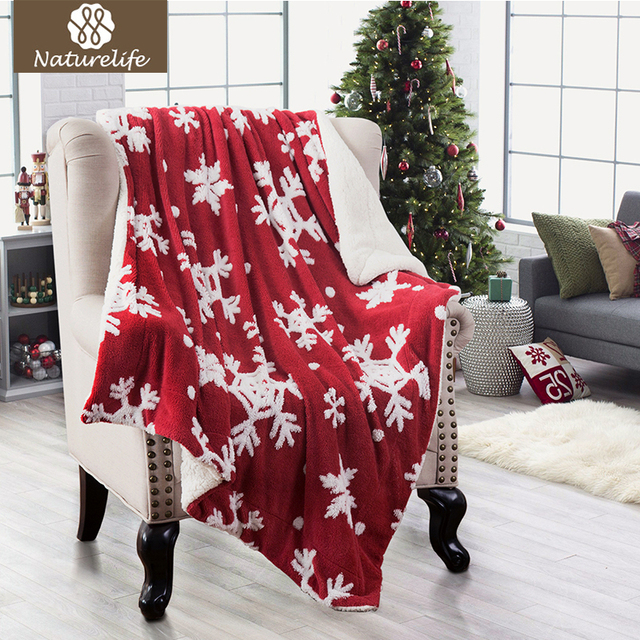 Aliexpress Buy Naturelife Christmas Jacquard Shu Velveteen Unique Red And White Christmas Throw Blanket