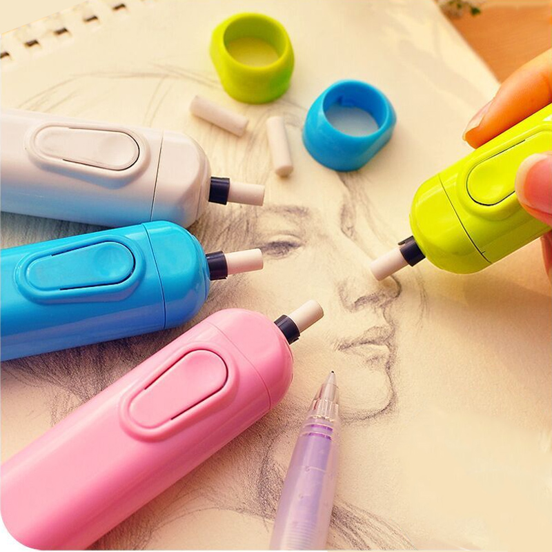 Electric Eraser Profession Sketch Eraser For Kids School Battery Automatic Rubber Student Drawing Pencil Erasers Art Supplies