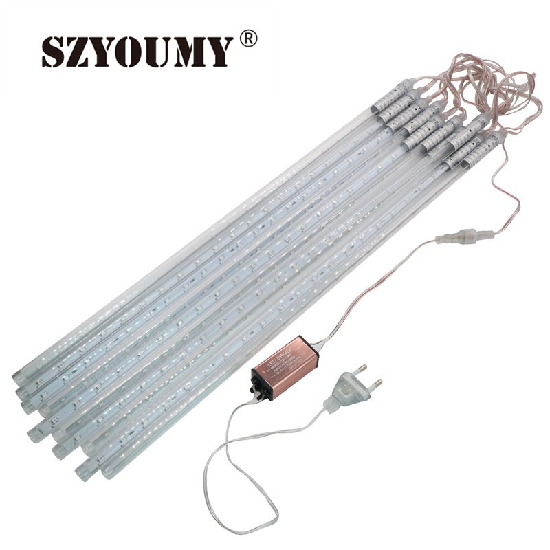 SZYOUMY 5 Sets Waterproof Led Christmas String Lights 10 Pcs/ Set SMD2835 Snowfall Tube 50CM Meteor Rain Led Tube Light 10sets lot smd5050 warm white red green double side led meteor shower lights led tube 12 500 mm10 pcs set 48 leds pc