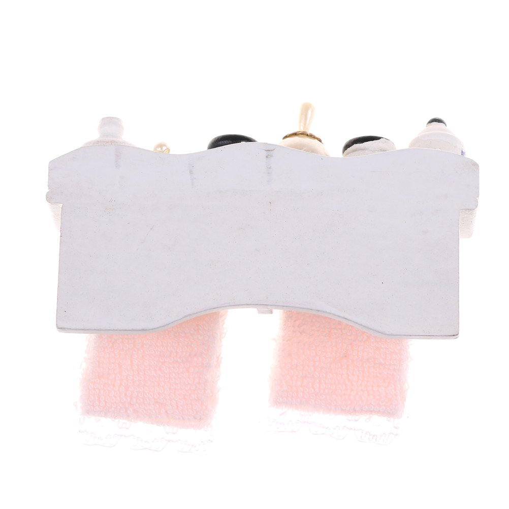 Novelty 1/12 Dollhouse Miniature Bathroom Set Towel Rack Makeup ...