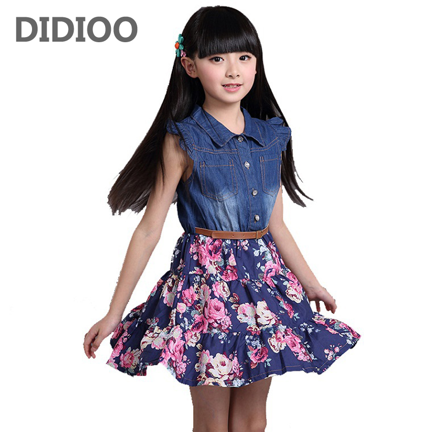 summer girls clothing children clothes kids dress cotton denim girls floral print dresses girl princess dress with flower