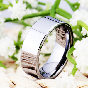 Image 5 - Hot Sales 8MM Width Classic Wedding Band Engagement Rings Silver Pipe Free Engraving Tungsten Carbide Rings For Women Mens Ring