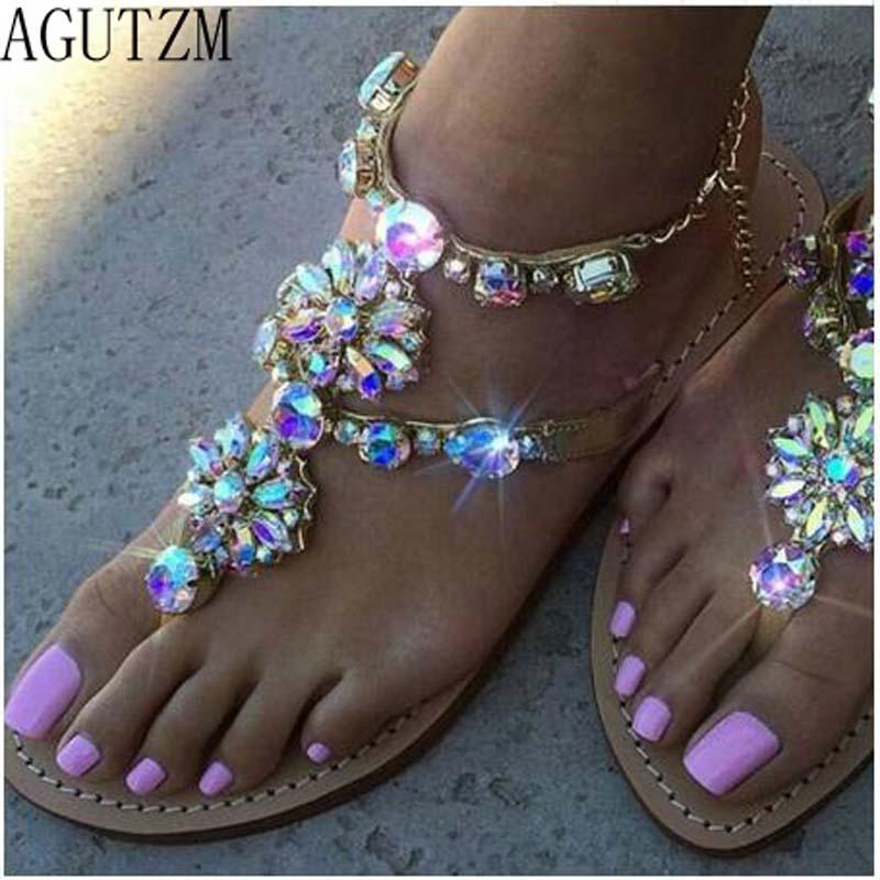 2018 AGUTZM Woman Sandals Women Shoes Rhinestones Chains Thong Gladiator Flat Sandals Crystal Chaussure 01