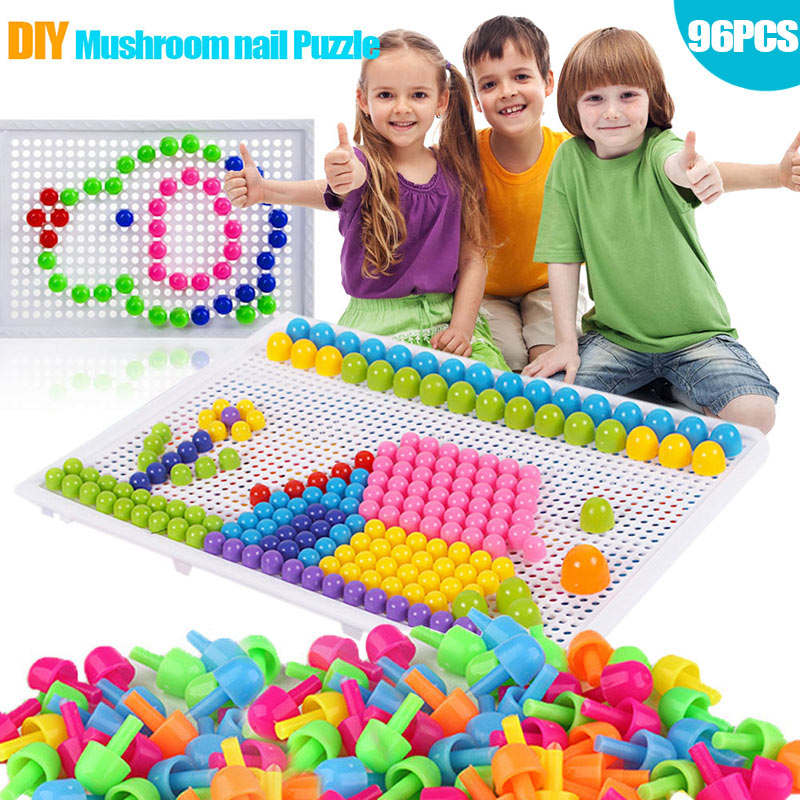 Children Toys Puzzle Peg Board With 96 Mushroom Pegs Model Kits Educational Building Toy For Kids Gift Random Color YH-1