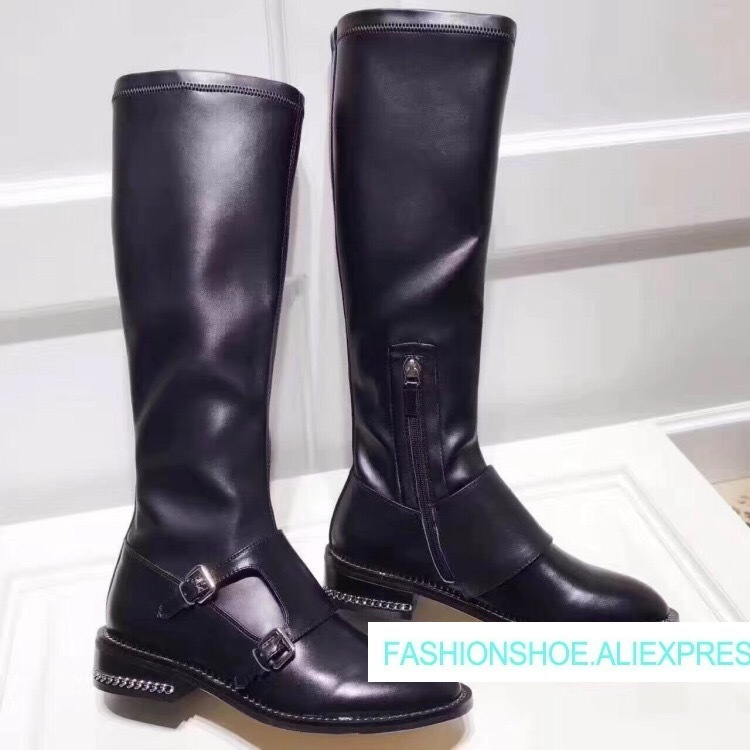 2018 Hot Autumn Winter Shoes Woman Leather Knee High Boots Side Zip Round Toe Metal Chain Buckles Woman Design Runway Boots Tide hot chic woman leather ankle boots spring autumn round toe metal decro side zip black boots high heels woman design runway boots