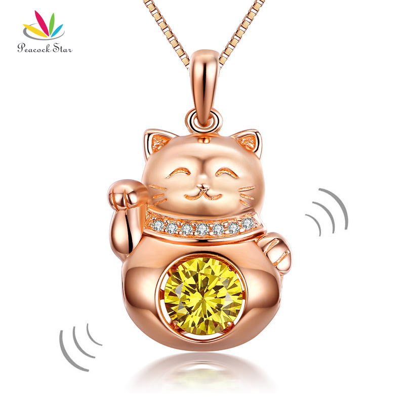 Peacock Star Lucky Cat Dancing Stone Pendant Necklace Solid 925 Sterling Silver Rose Gold Color CFN8098 alloy rose flower pendant necklace