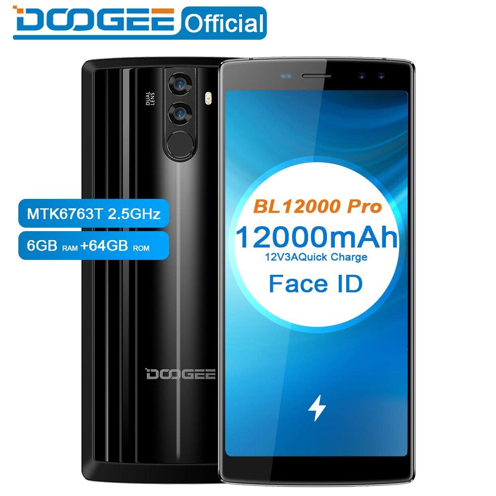 DOOGEE BL12000 Pro 12000mAh Smartphone MTK6763T 6.0''18:9 FHD+ 2.5GHz 6GB RAM 64GB ROM Quad Camera 16.0+13.0MP Android 7.1