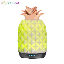 COOSA New High Quality Air Humidifier 250ml Essential Oil Diffuser Ceramic Pineapple Ultrasonic Cool Mist Maker for Bedroom Gift