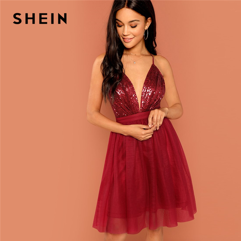 3534872cc8 SHEIN Burgundy Sexy Party Backless Sequin Detail Mesh Halter High Waist  Solid Dress 2018 Summer Club Fashion Women Dresses ~ Hot Sale May 2019