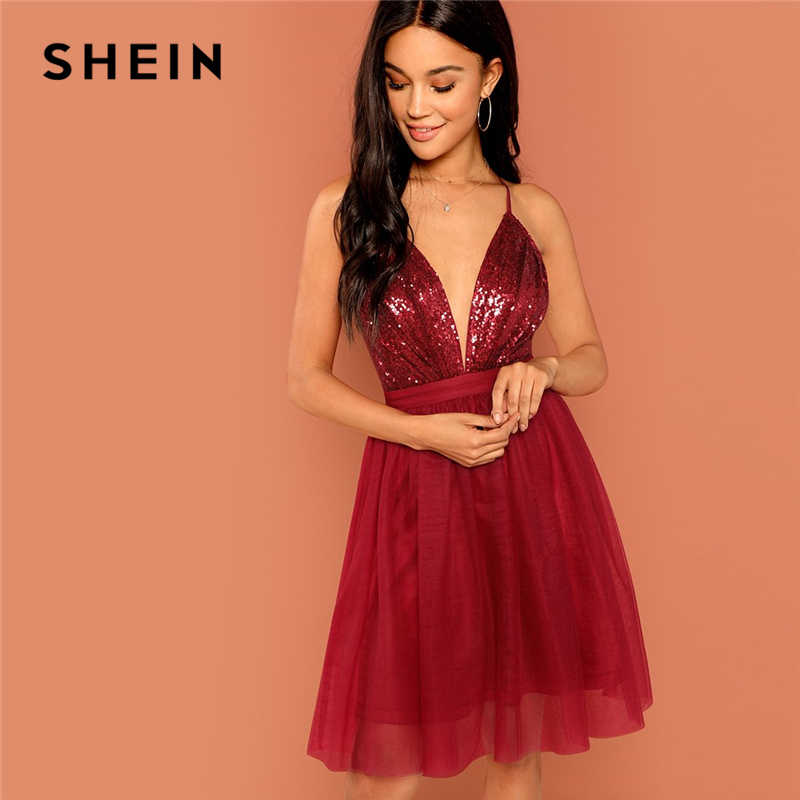 SHEIN Burgundy Sexy Party Backless Sequin Detail Mesh Halter High Waist  Solid Dress 2018 Summer Club ce5ed9c1ebef