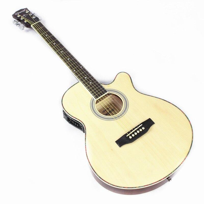 Diduo 40 pouces haute qualité acoustique Folk guitare palissandre touche Guitarra avec 6 cordes Ultra mince corps de seau avec EQ