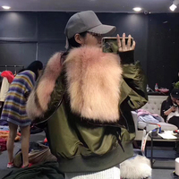 Menina Bonita 2017 теплая зимняя куртка Женские одноцветное пальто розовый зеленый натуральный Лисий мех воротник кролик лайнер куртка пилот