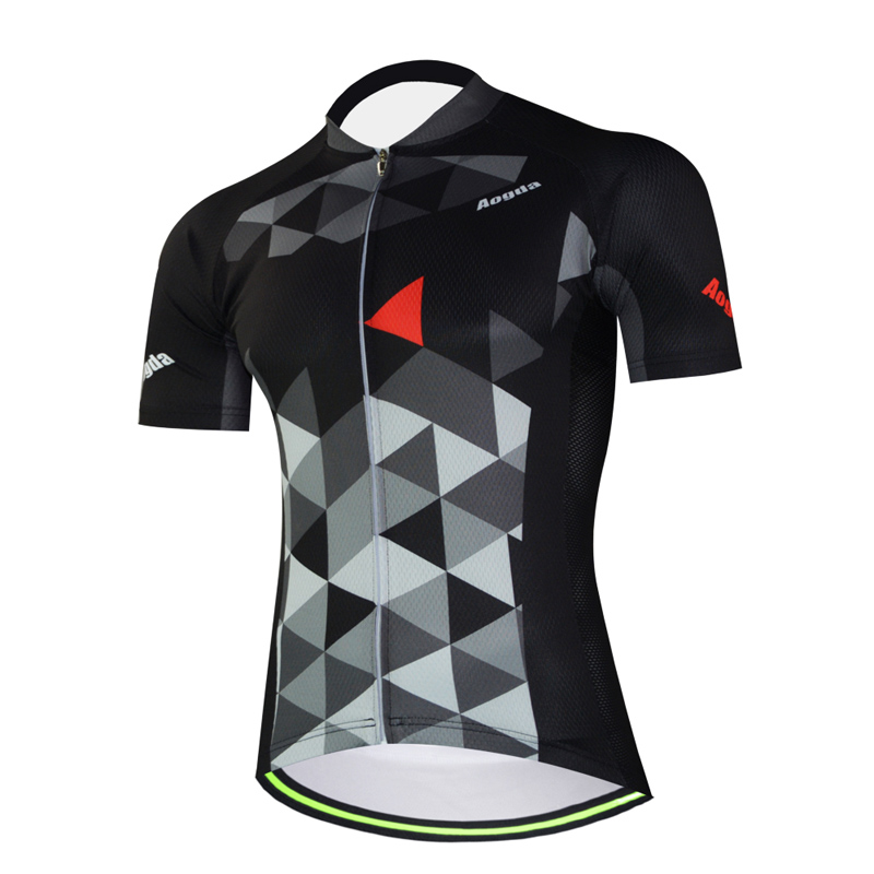 Aogda Men Short Sleeve Bicycle Jersey Summer Outdoor Breathable Cycling Clothing Black Quick Dry Road Mtb Bike Shirt