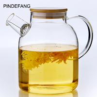 PINDEFANG 1600ml Large Juice Water Bottle Heat resistant Glass Drinkware set Bamboo Lid Health Life House Decoration Jugs Jar