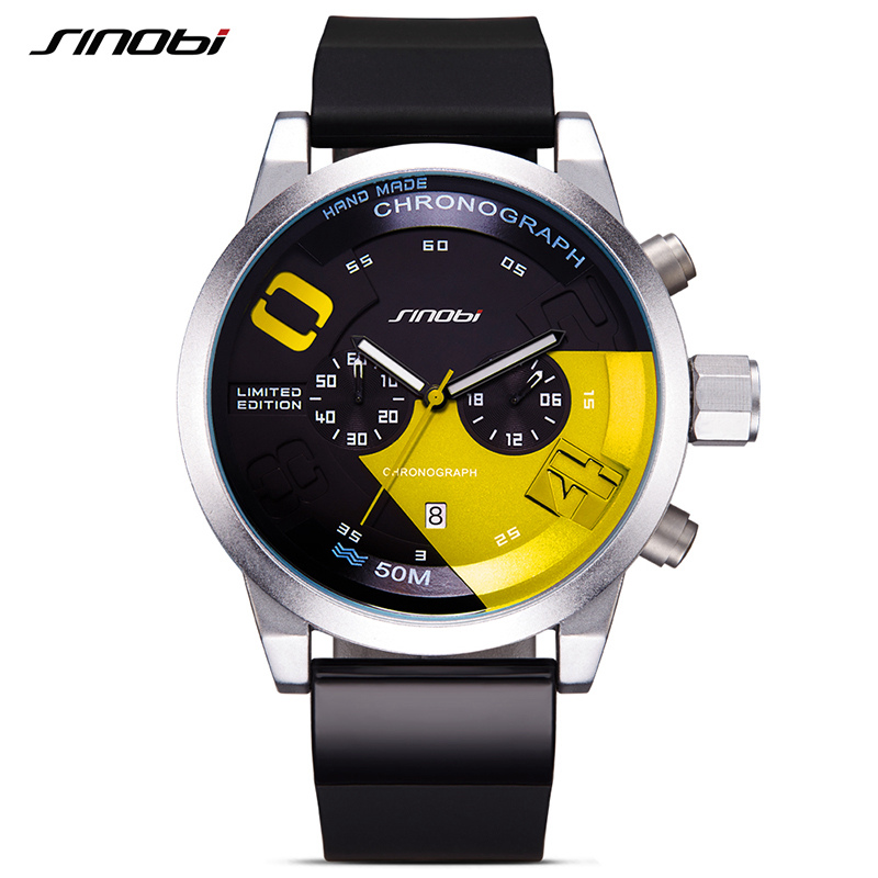 SINOBI Montre Homme font b Mens b font Sports Stopwatch Wrist font b Watches b font