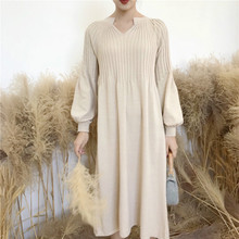 Women Autumn Winter Long Sweater Knitted Dress Puff Sleeves Vintage Bodycon Plus Size V Neck Vestidos Mujer Robe Pull Femme