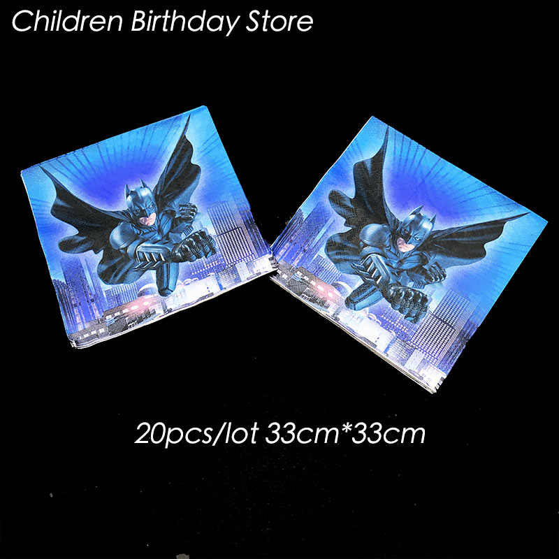 20 шт./упак. Бэтмен одноразовые салфетки Бэтмен День Рождения украшения Бэтмен одноразовая посуда