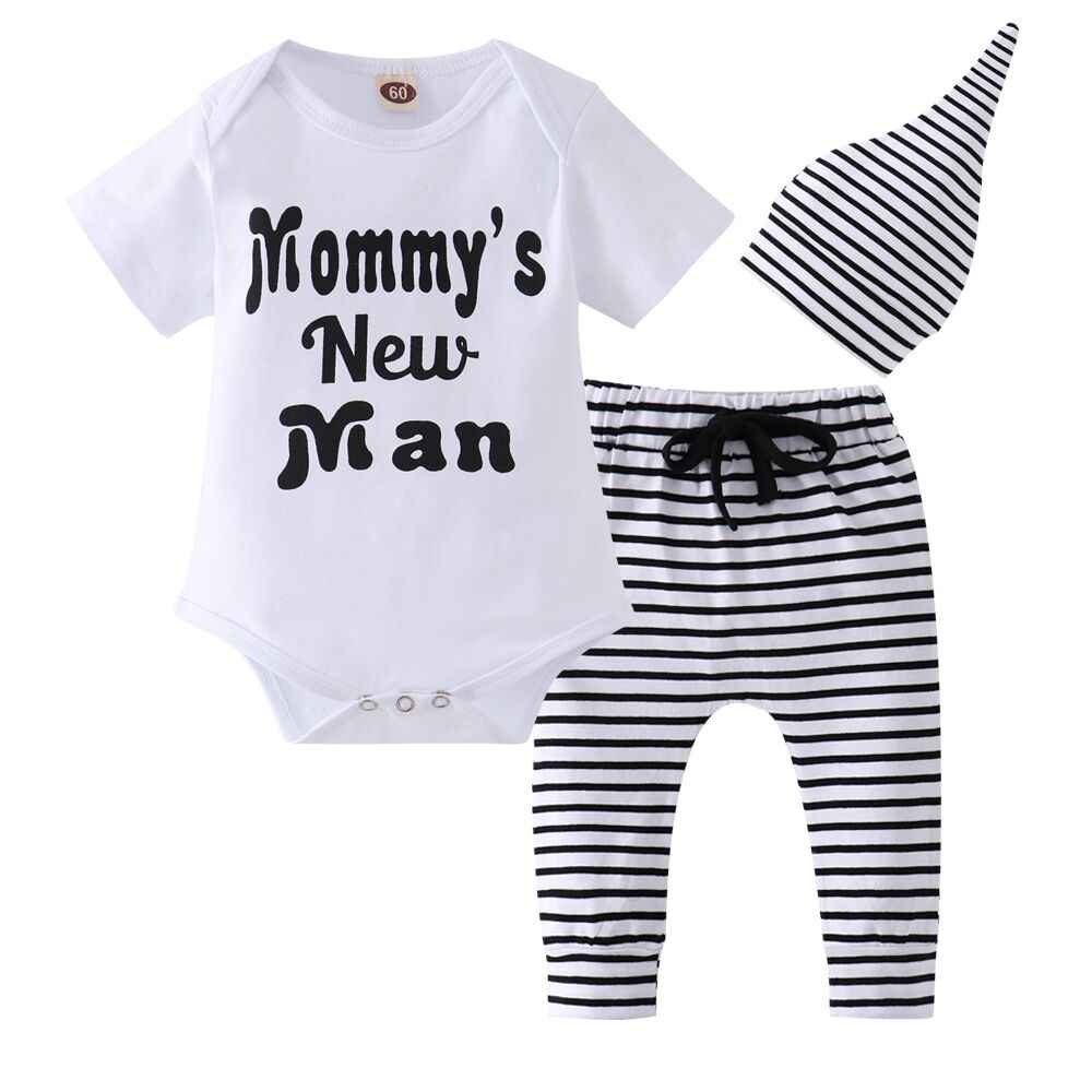 8af667e6dc7b0 New Baby Boy Clothing Set Cotton Short sleeve letter Pattern Bodysuit+Stripe  Pants+Hat