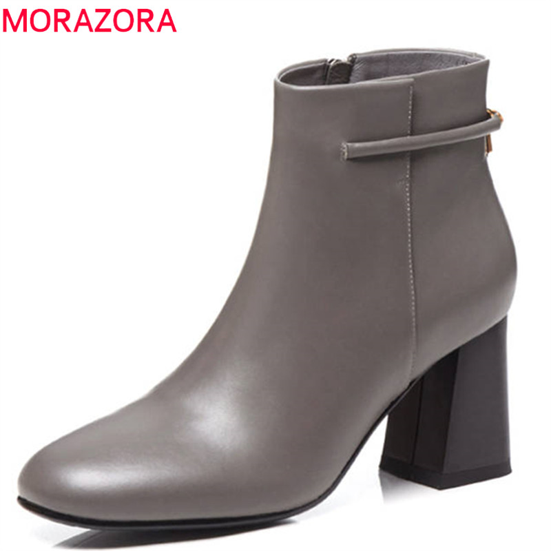 цена на MORAZORA 2018 top quality genuine leather boots women simple zipper round toe autumn winter boots fashion ankle boots female