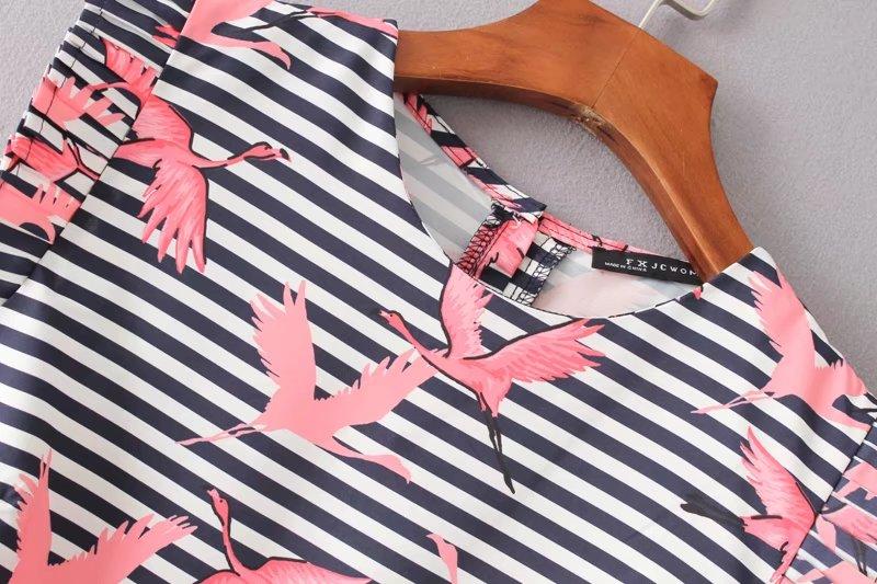 HTB1G.WXRVXXXXalXFXXq6xXFXXXx - Women vintage vestidos striped crane printed pleated blouses shirt