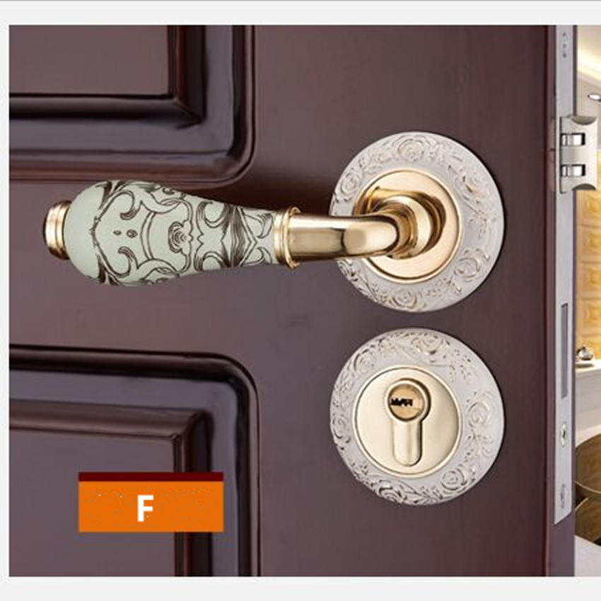 Fashion golden Carved rose mechanical interior door lock bronze ivory white bedroom kitchen solid wood door ceramic handle lock european fashion ivory white bedroom bookroom door lock amber white indoor lock mechanical handle lock bearing lock body crystal