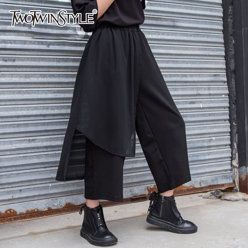 TWOTWINSTYLE Black Mesh   Wide     Leg     Pants   Women High Elastic Waist Large Big Size Patchwork Trousers For Women 2018 Summer Fashion