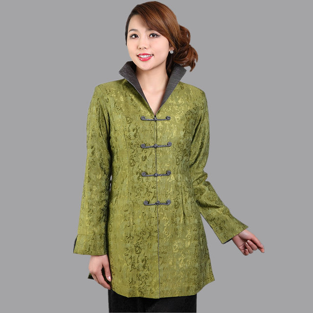 New Arrival Green Ladies Long Jacket Classic Spring And Autumn Lady Coat Flowers Size S M L XL XXL XXXL Mujer Chaqueta Mny004B