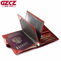 GZCZ Genuine Leather Women Wallet Female Passport Cover Card Holder Walet Clamp For Money Coin Purse