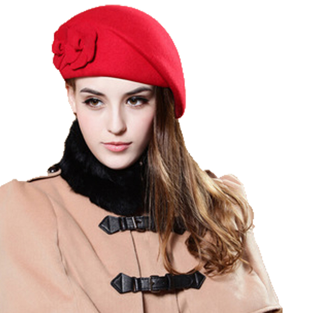 a14d87cac50 New winter Women s Caps Formal Floral Red hat beanies Wool woman Hat With Ears  Fur Pompom Women s Winter Hats Female Winter A05