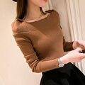 Hitz 2016 Corea delgado delgada camisa de cuello de cobertura suéter de otoño del todo-fósforo suéter de la muchacha