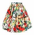 2015 Verano Nuevo 50 s Pinup Mujeres Playa Chica Retro Floral Print alta Cintura de Una Línea de Falda de Midi Saia Vintage Beach Wear Negro Verde