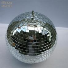 "D30cm קוטר זכוכית מסתובב מראה כדור 12 ""מסיבת חג המולד אור W/סיבוב מנוע רעיוני תליית חנות חנות דקור כדורי"