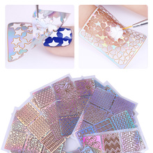 12 Sheets Nail Vinyls Laser Hollow Stencil Stickers Nail Transfer Guide Template Heart Star Fish (Random Pattern)