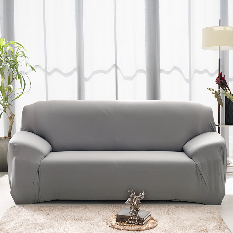 Plain Solid Pattern Couch Covers for Sectional and Cornered Sofa in Living Room with elastic Band and Strap 4