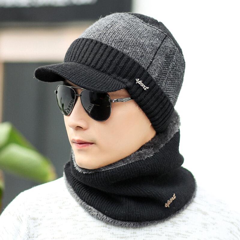 SUOGRY Winter Knitted Hat   Skullies     Beanies   Hat Winter   Beanies   For Men Women Wool Scarf Caps Gorras Bonnet Mask Brand Hats