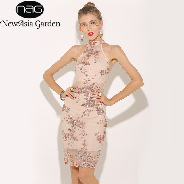 508c4f4e1f NewAsia Garden Sexy Dress Autumn Rose Gold Sequin Dress Women Elegant Party  Dress Sheer Mesh Bodycon