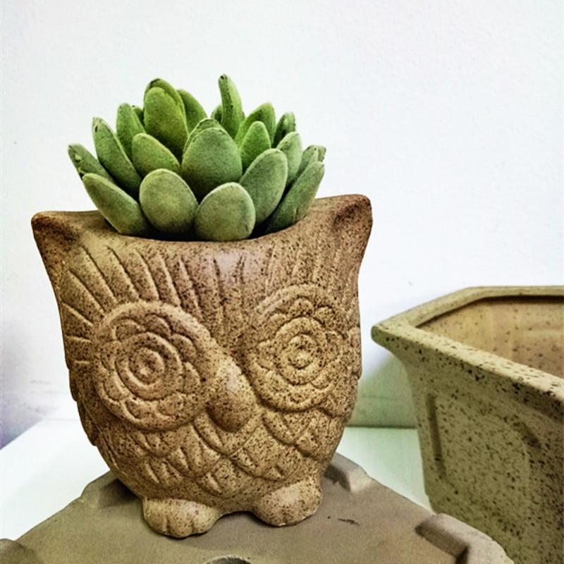 Macetero en forma de búho de dibujos animados para plantas - Productos de jardín