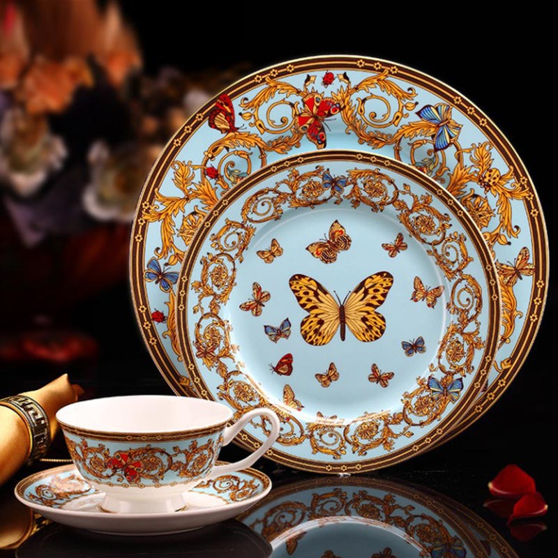YeFine Luxury Bone Porcelain Tableware Set 4 PCS Ceramic Dinnerware Set Dishes And Plates Cups And Saucers Kit Creative Gifts