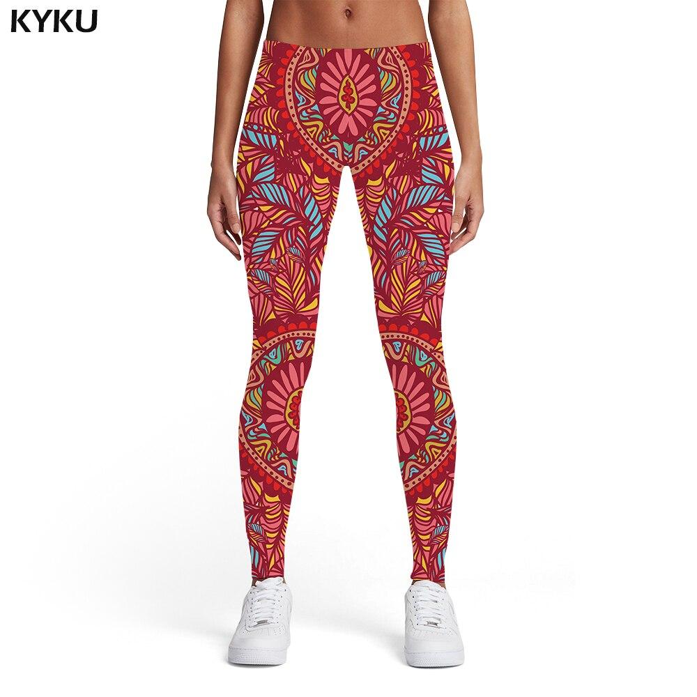 Kyku Flower Leggings Women Colorful 3d Print Graphics Elastic Vintage Leggins Art Spandex Womens Leggings Pants Jeggings