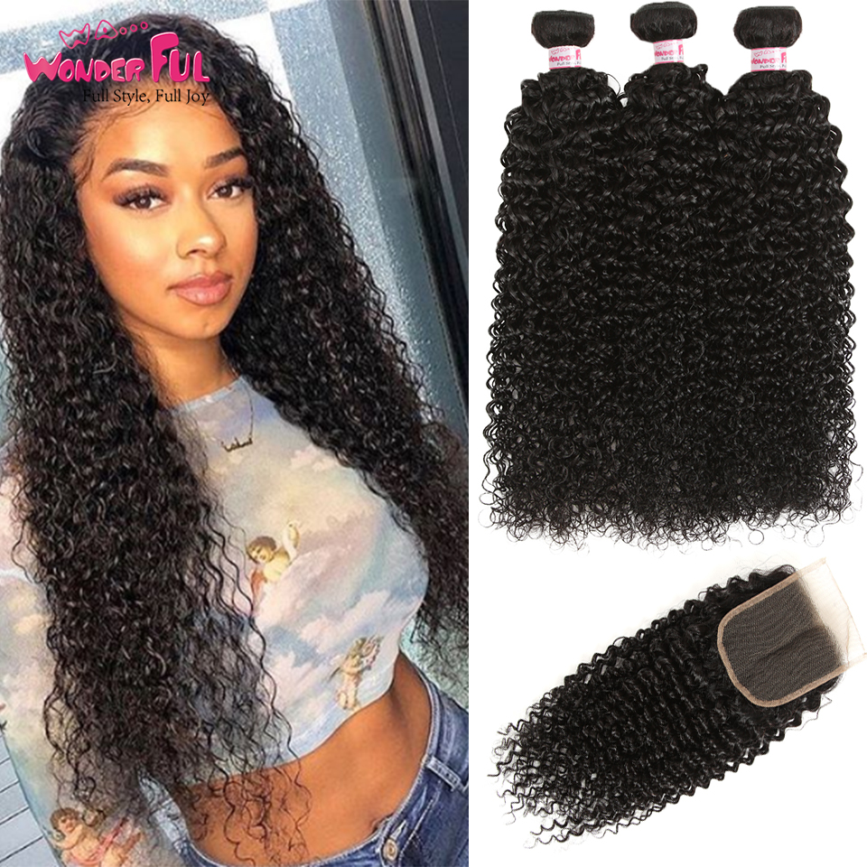 Kinky Curly Bundles With Closure Mongolia Hair Weave Bundles With Closure 100 Human Hair 3 4
