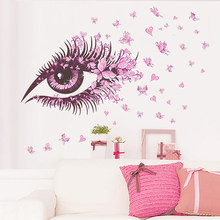 Pink Cute Girl Eyes Butterfly Wall Sticker Living Room TV Background Removable Wall Sticker DIY Art Wall Sticker(China)