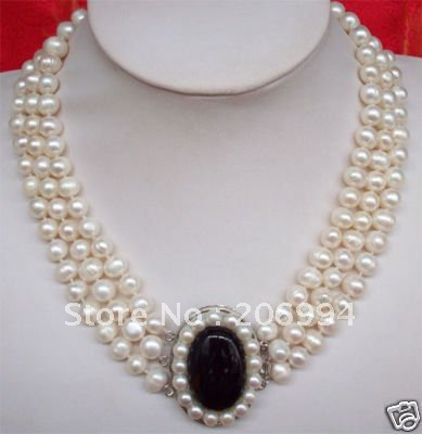 Pearl Jewellery Necklace >> Wholesales Beautiful 3rows 7 8mm Freshwater White Pearl Jade Pendant